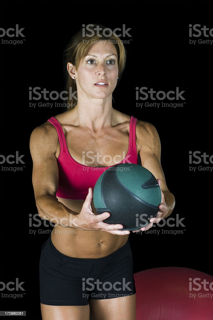 Workout with Medicine Ball royalty-free stock photo
