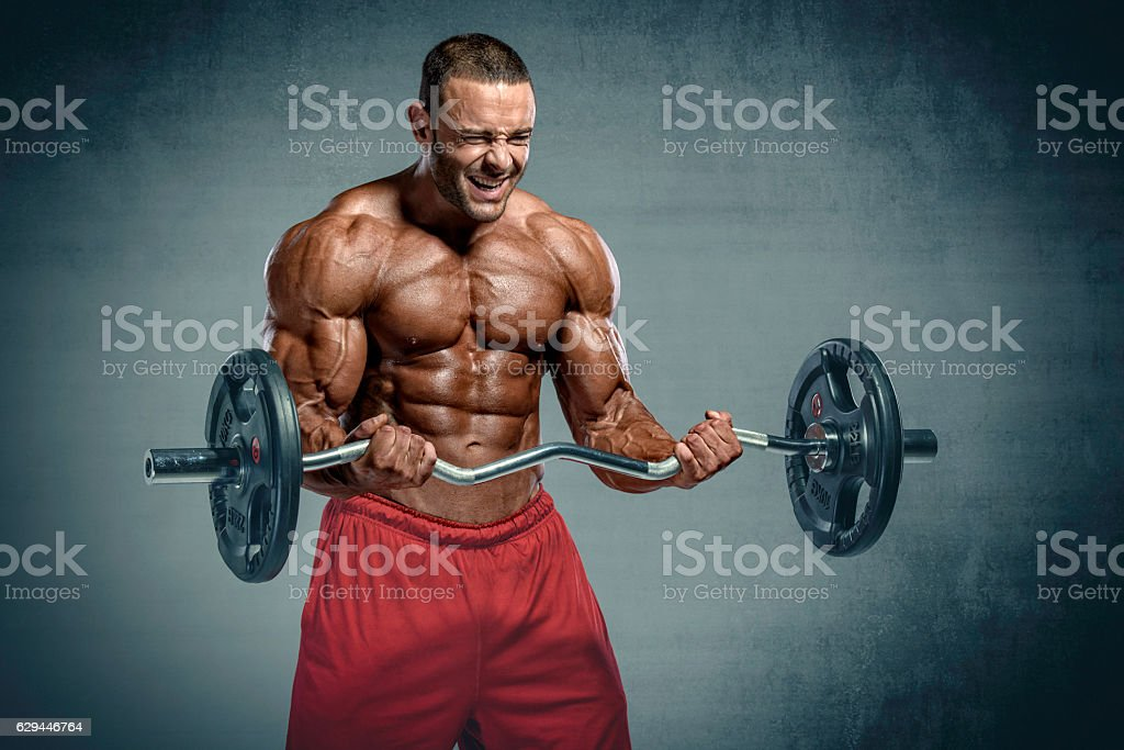Workout with weights stock photo