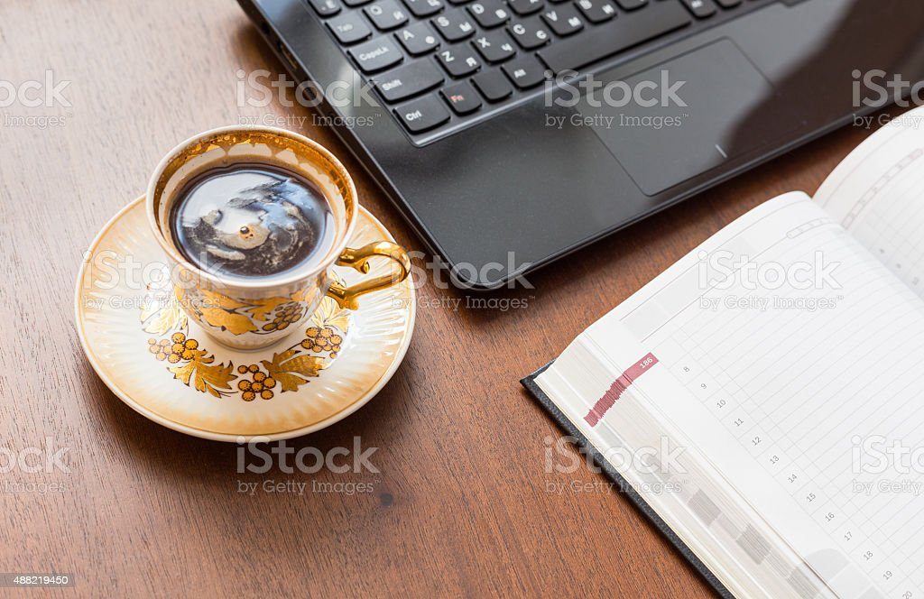 Workplace at home in the morning. stock photo