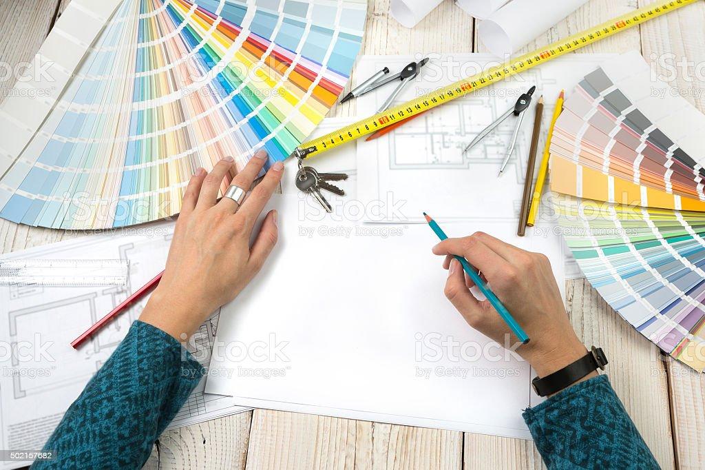 Workplace designer architect decorator. stock photo