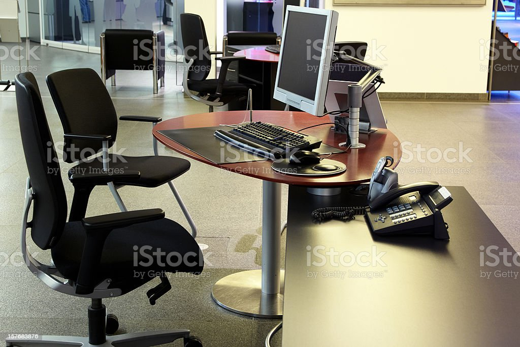 Workplace in a bank stock photo