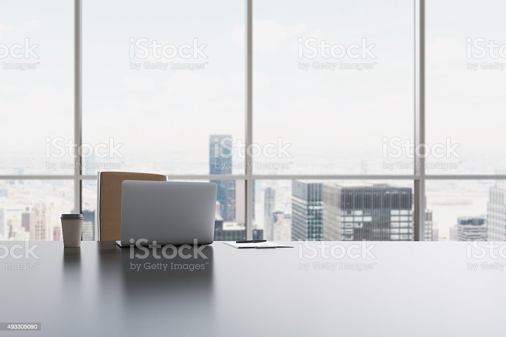 workplace in a modern panoramic office in Manhattan stock photo