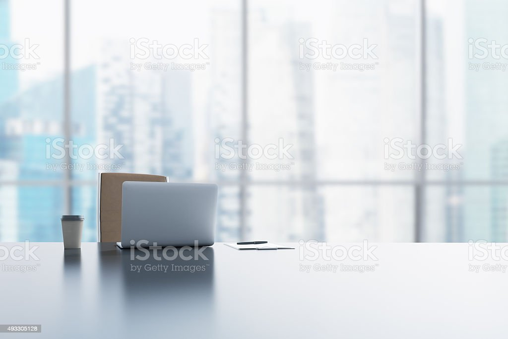 workplace in a modern panoramic office in Singapore stock photo