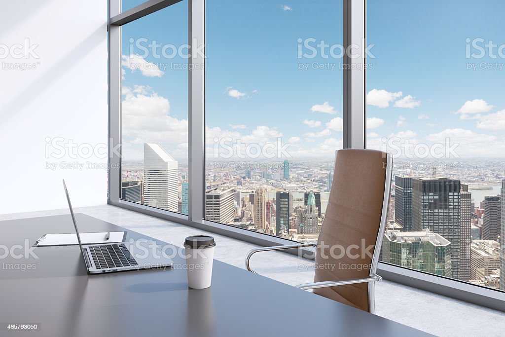 workplace in a modern panoramic office with New York view. stock photo