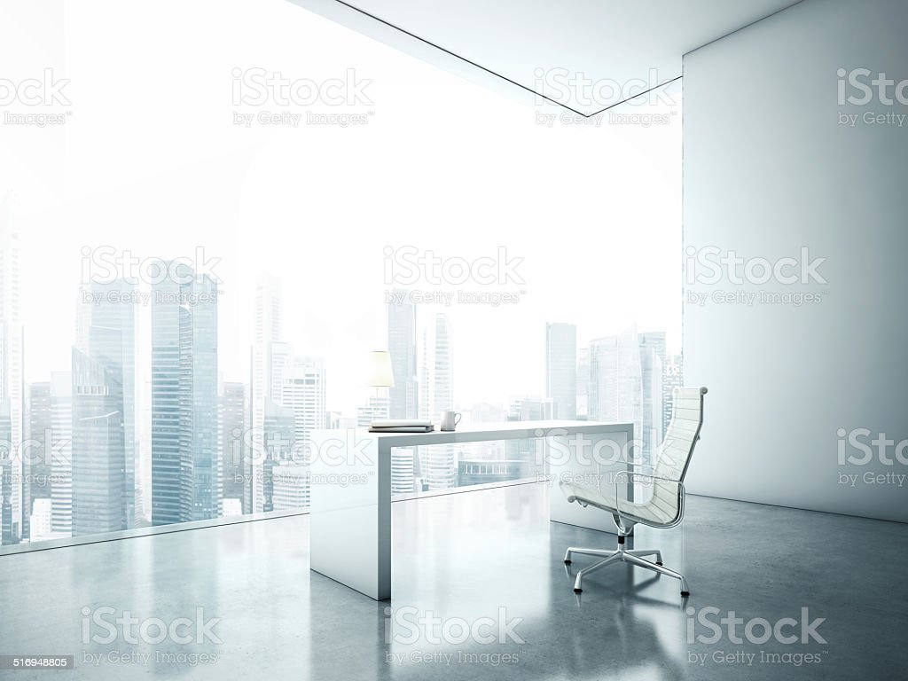 Workplace in front of panoramic window stock photo