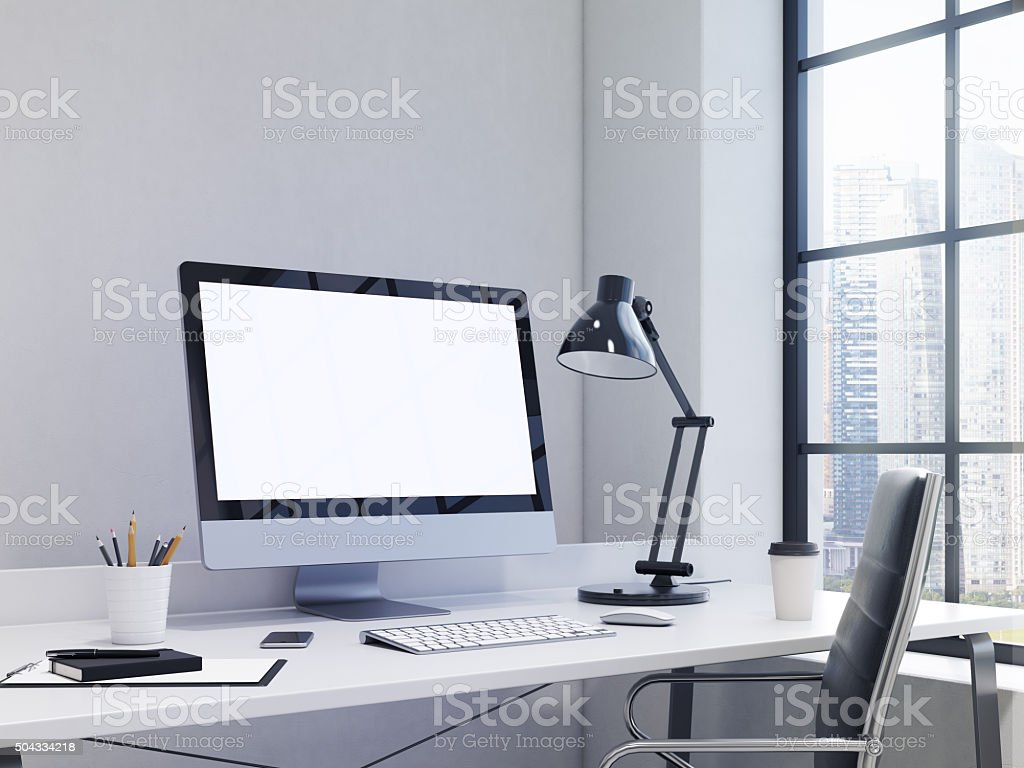 workplace in the corner, office stock photo