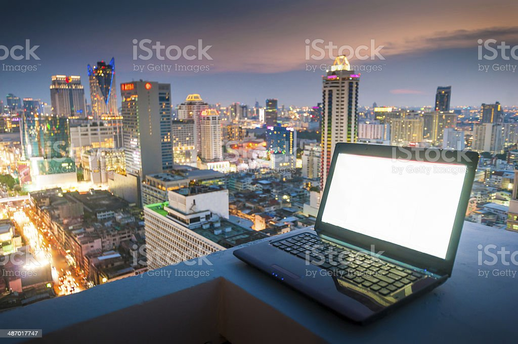 Workplace in the night city stock photo