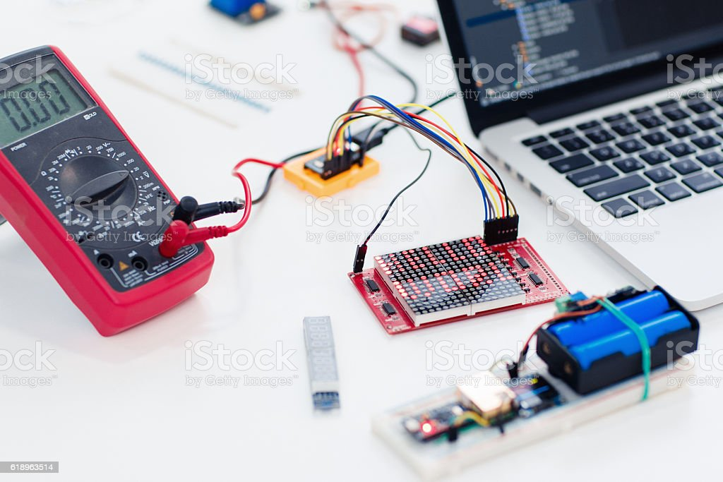 Workplace of advanced engineer, close-up stock photo