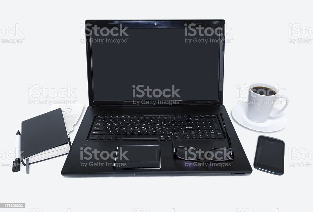 Workplace on the white table royalty-free stock photo