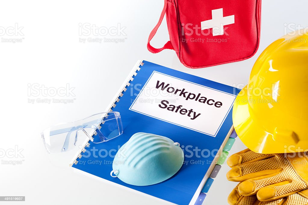 Workplace Safety Equipment and Handbook Manual Horizontal stock photo