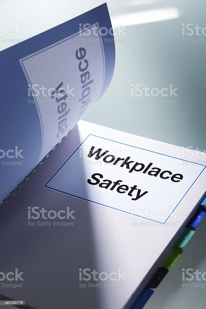 Workplace Safety Handbook Manual Vertical stock photo