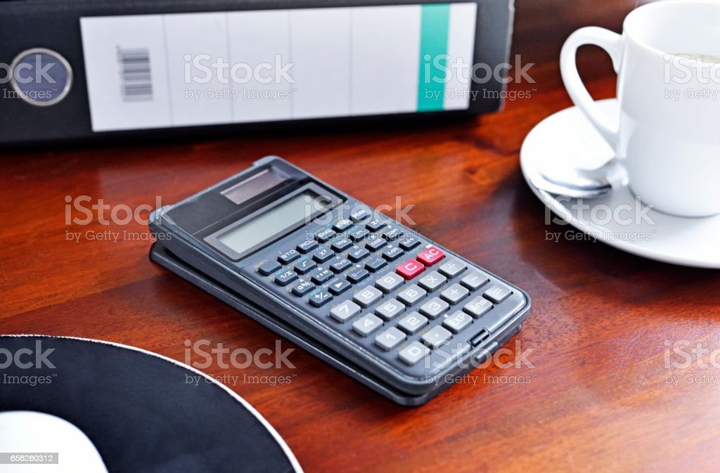 Workplace with coffee cup and files stock photo