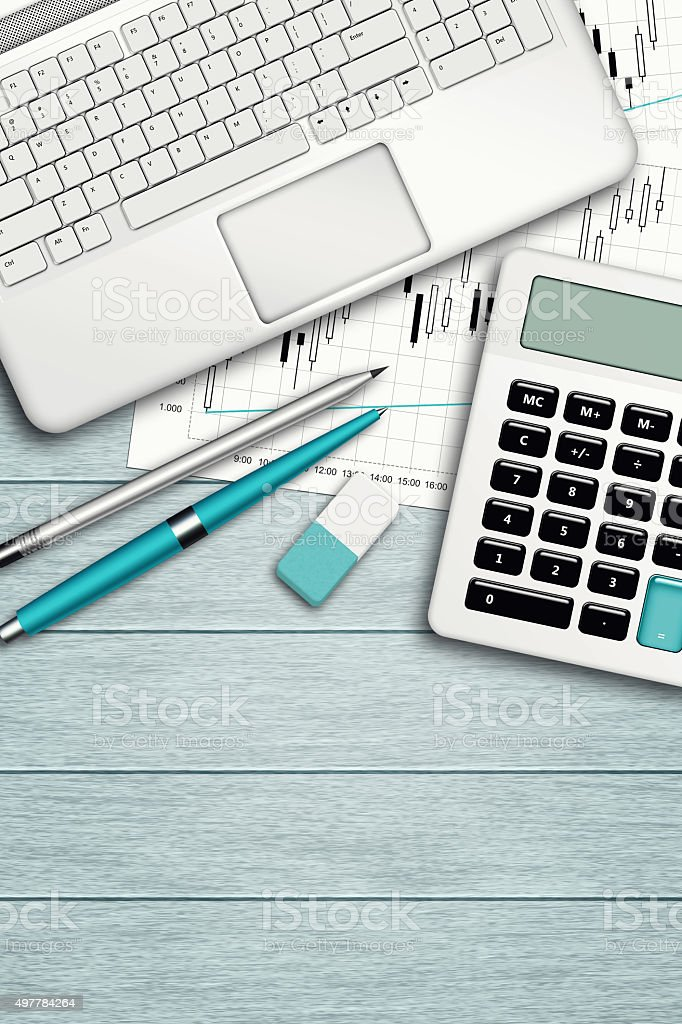 workplace with computer, calculator, stationery and place for te stock photo