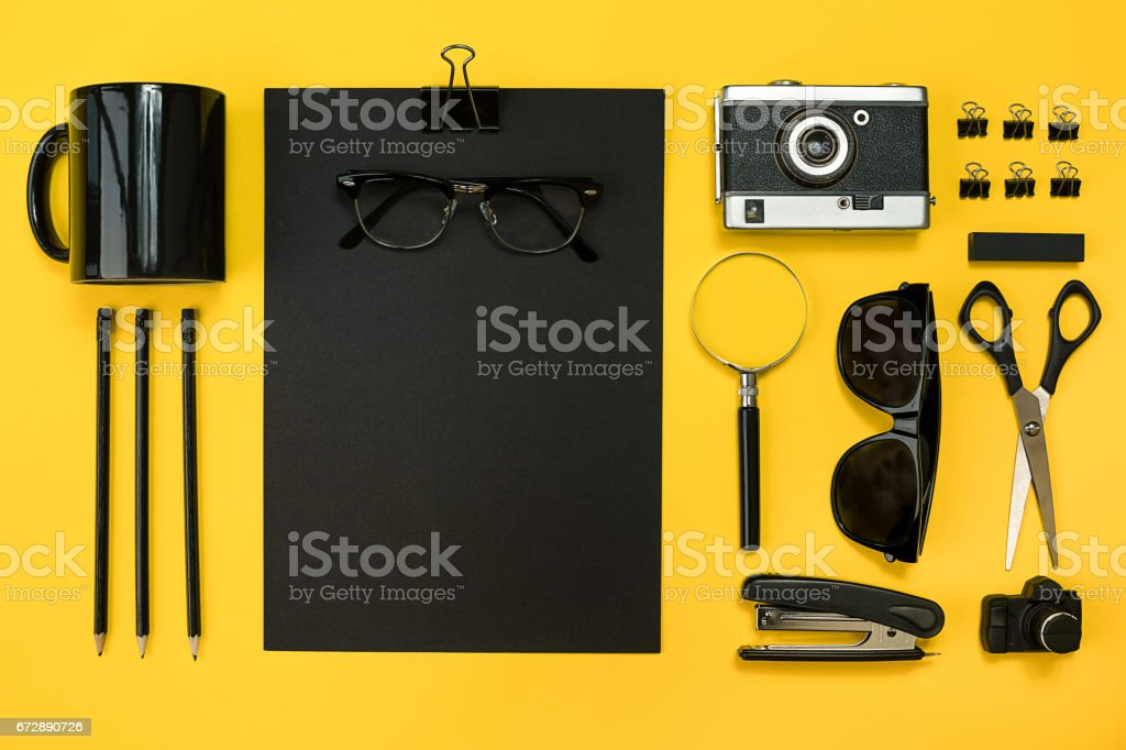 Workplace with office items and business elements on a desk. Con stock photo