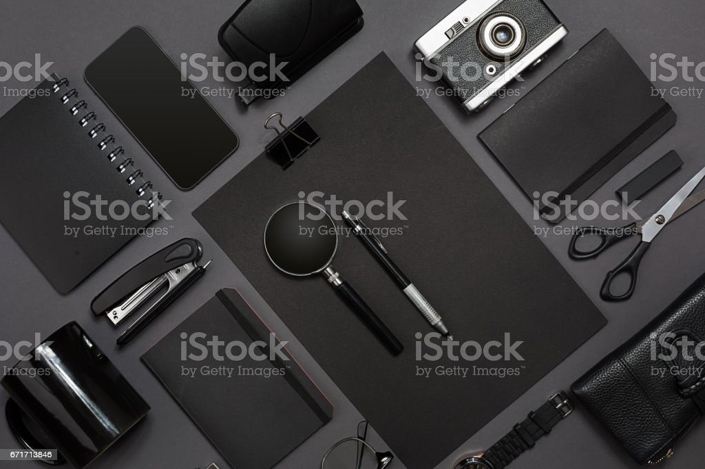 Workplace with office items and business elements on a desk. Concept for branding. Top view stock photo