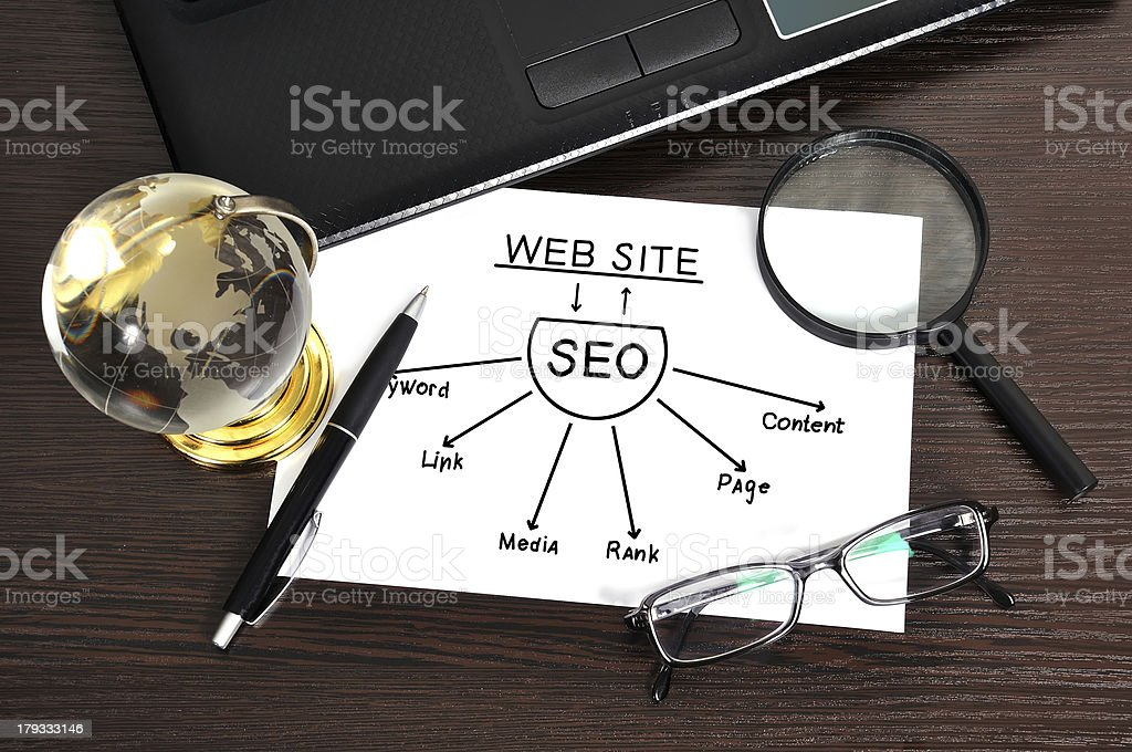 workplace with seo sheme on paper and money royalty-free stock photo
