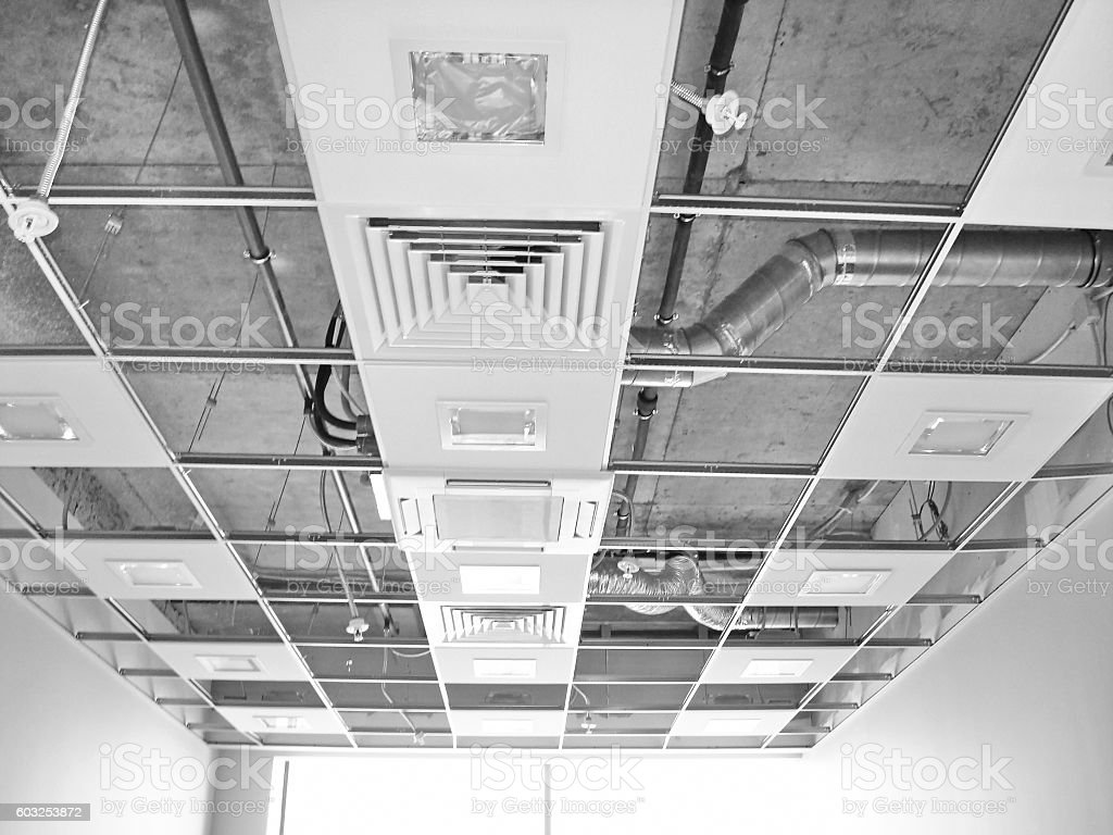 Works Building Finishing Ceiling stock photo