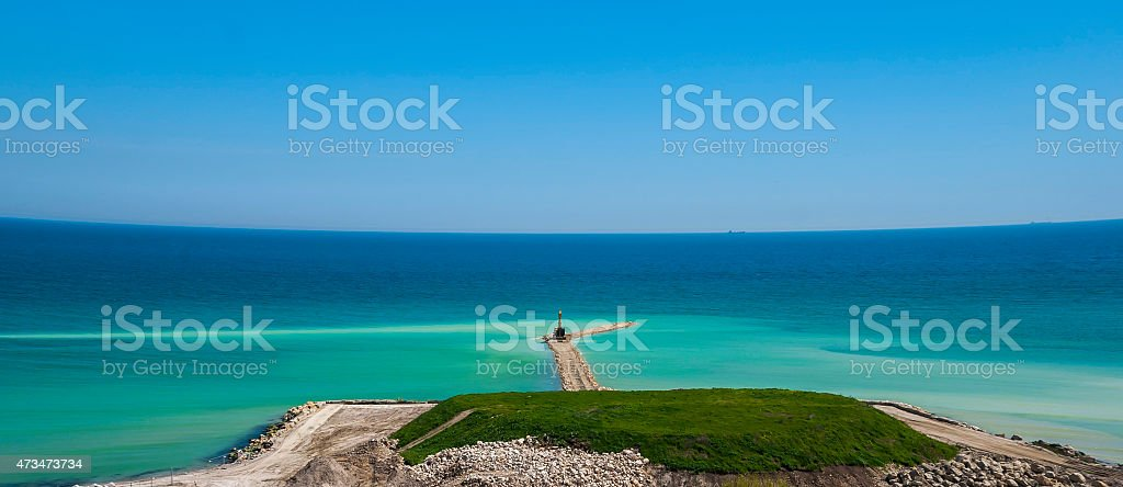 Works for coastal protection stock photo