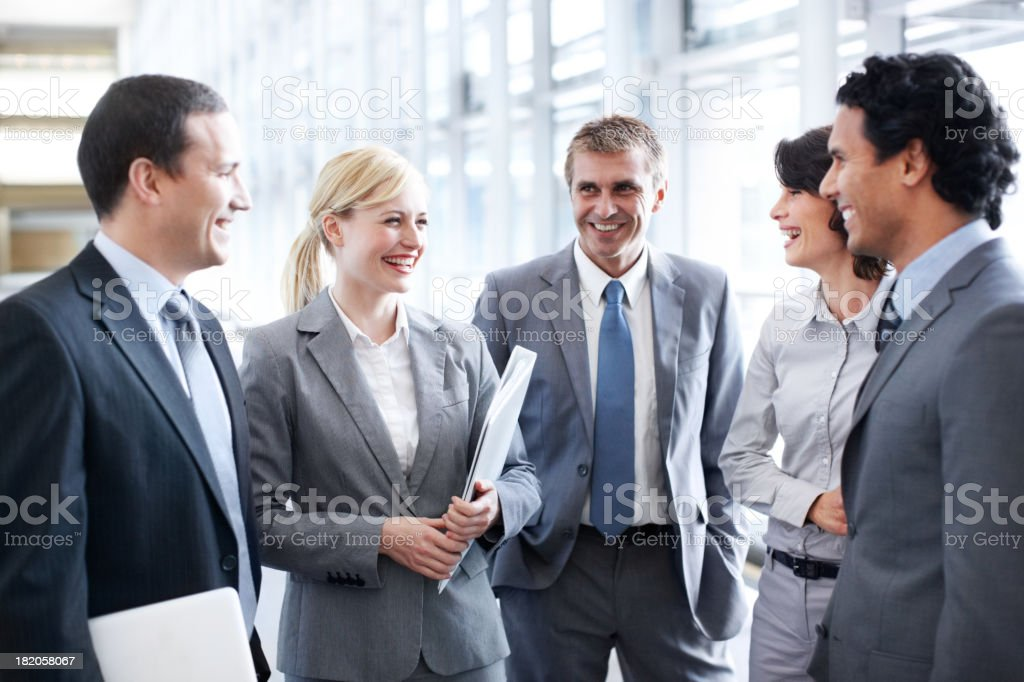 Works great when you get on with your colleagues royalty-free stock photo