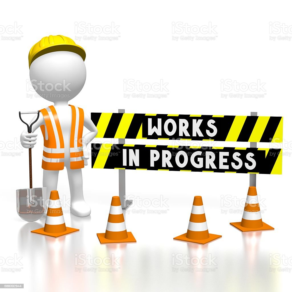 3D works in progress concept stock photo