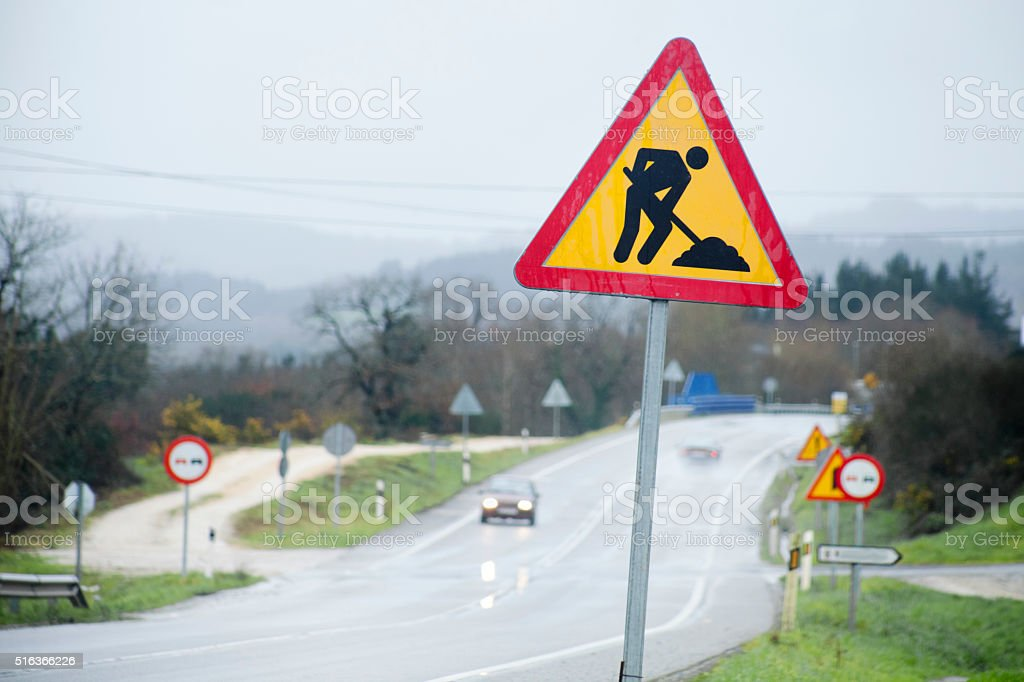 Works in progress warning road sign. stock photo
