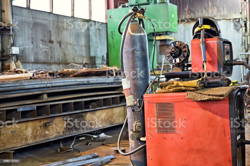 workshop for production of metal structures stock photo