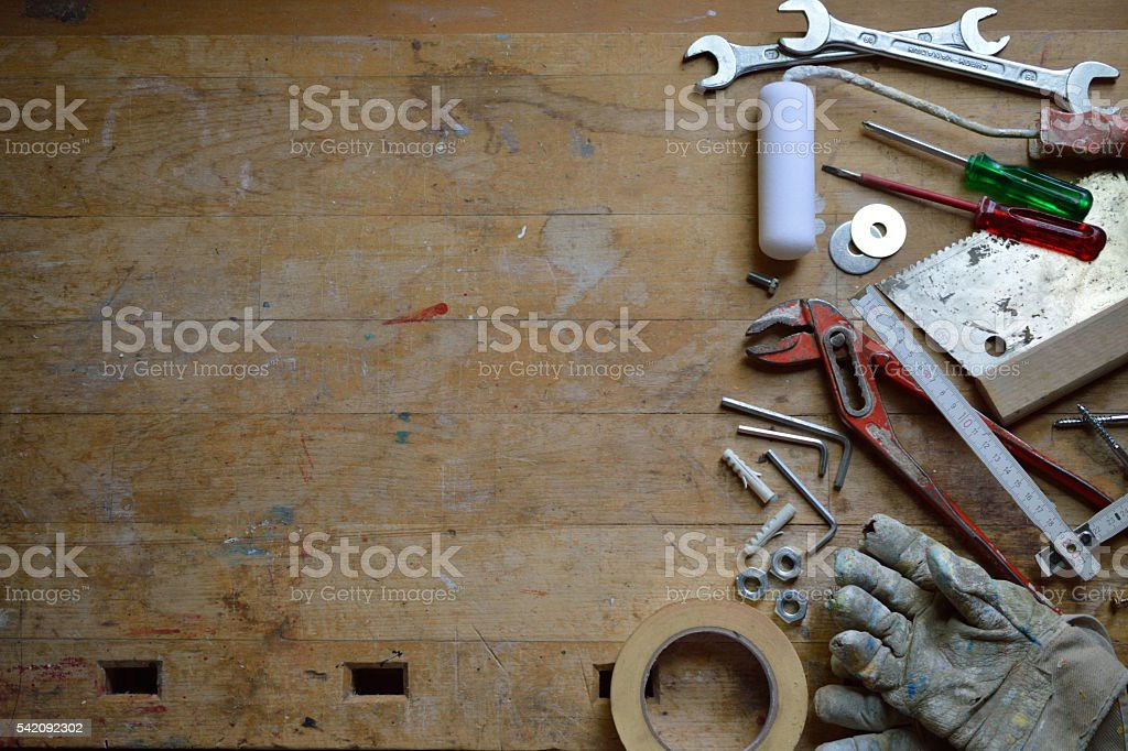 workshop with tools stock photo