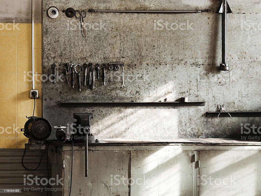 Workshop workbench royalty-free stock photo