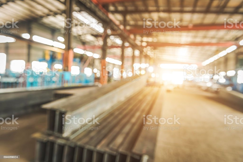 Workshop,Large steel processing plant,Blurred background stock photo