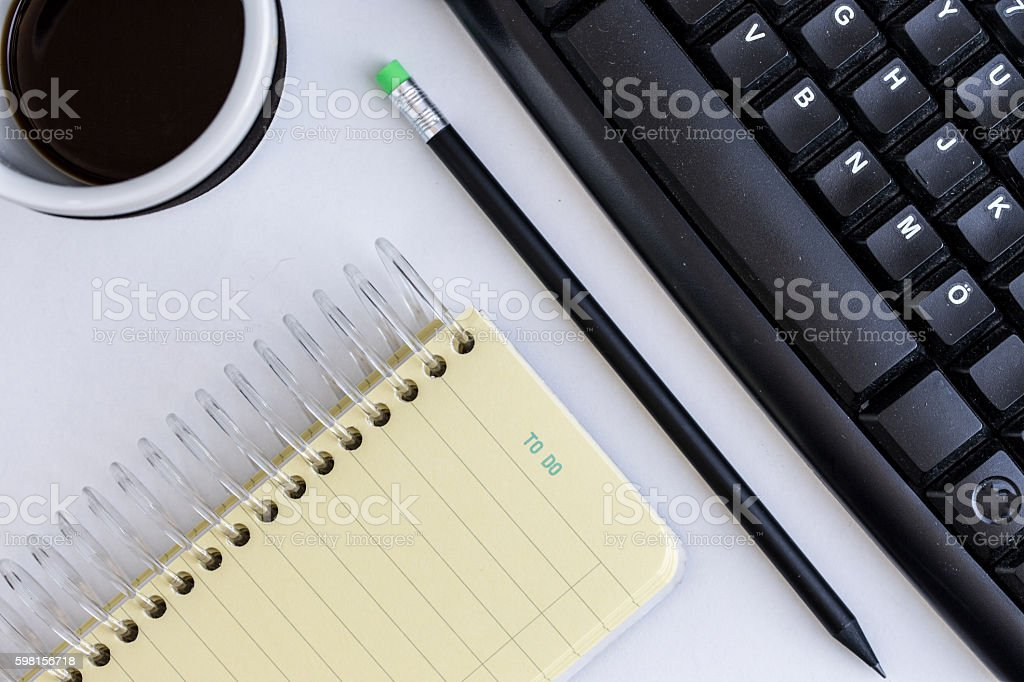Workspace green and black stock photo