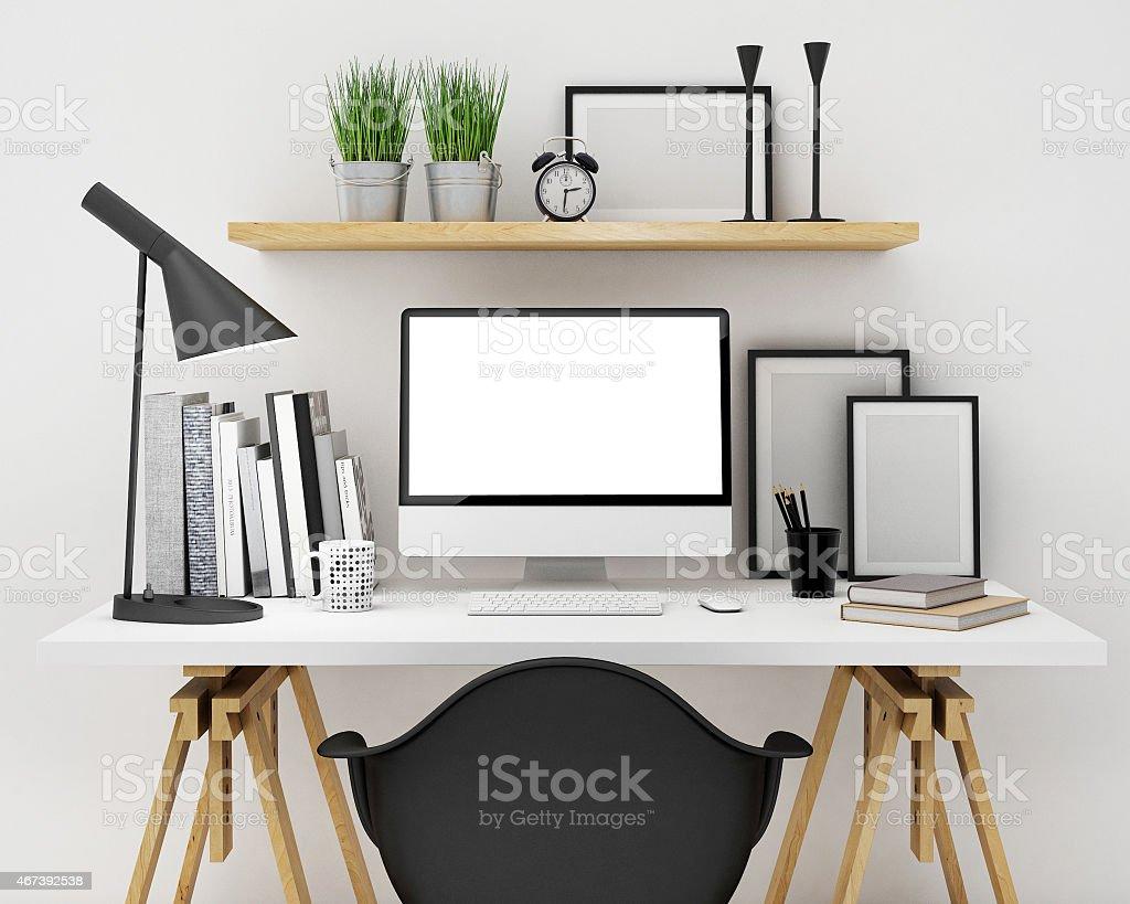 workspace mock up background stock photo
