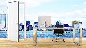 Workspace on city and sea view-3D Rendering