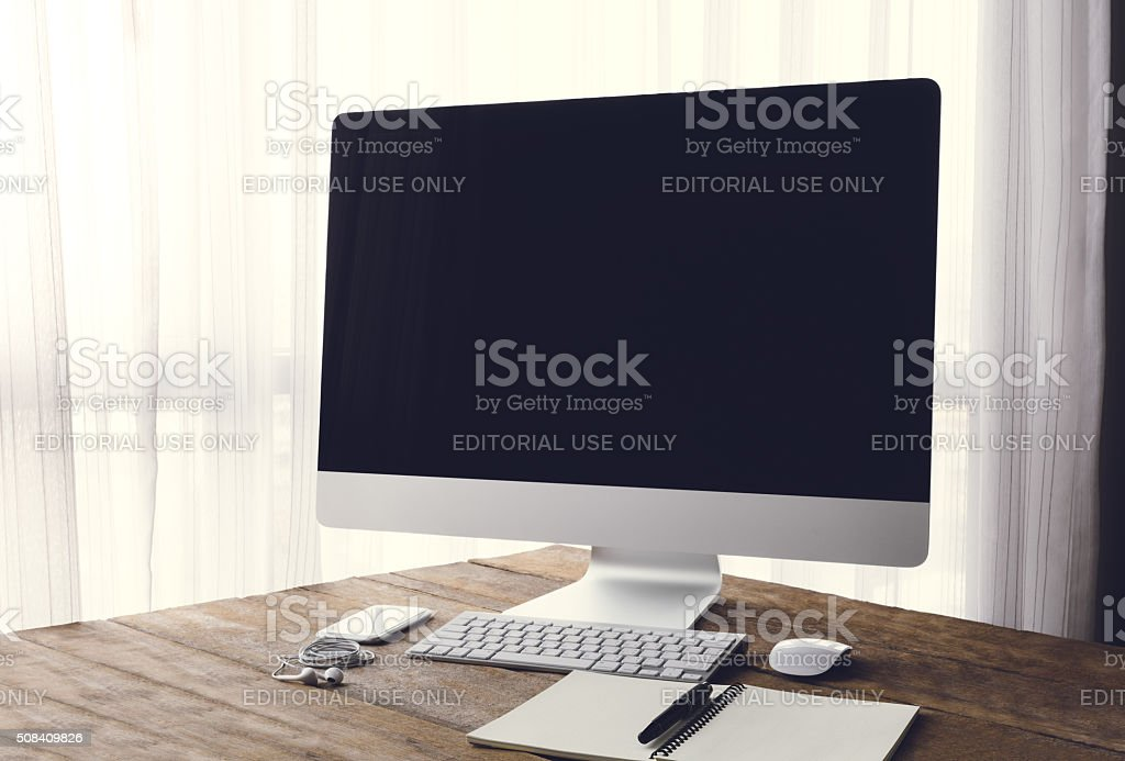 Bangkok, Thailand - January 24, 2016: Workspace or background stock photo