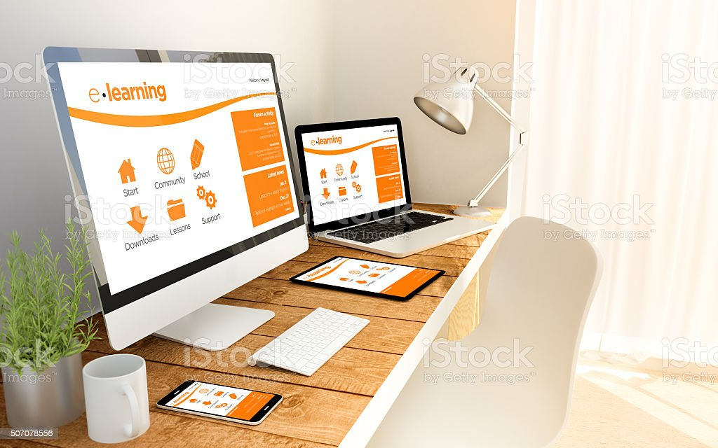 workspace with elearning website stock photo