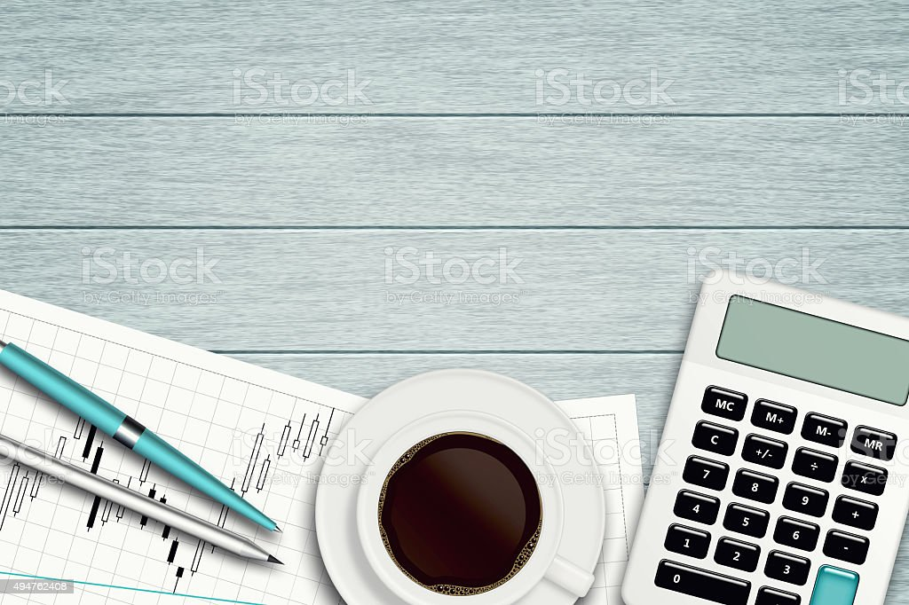 workspace with graph, coffee calculator and stationery stock photo