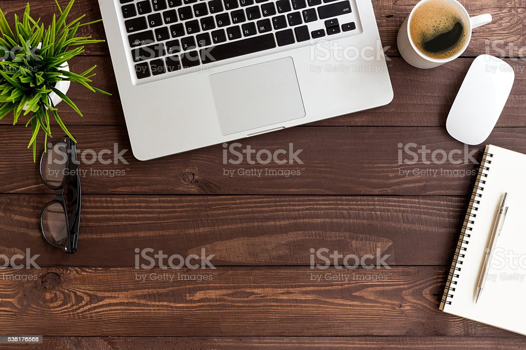 workspace wood table on top view stock photo