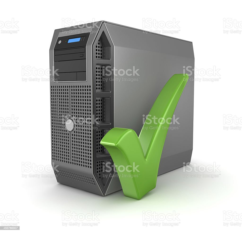 Workstation and Check Mark stock photo