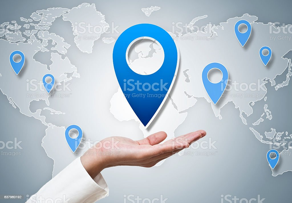 Worl map with location pin/ Touch screen (Click for more) stock photo