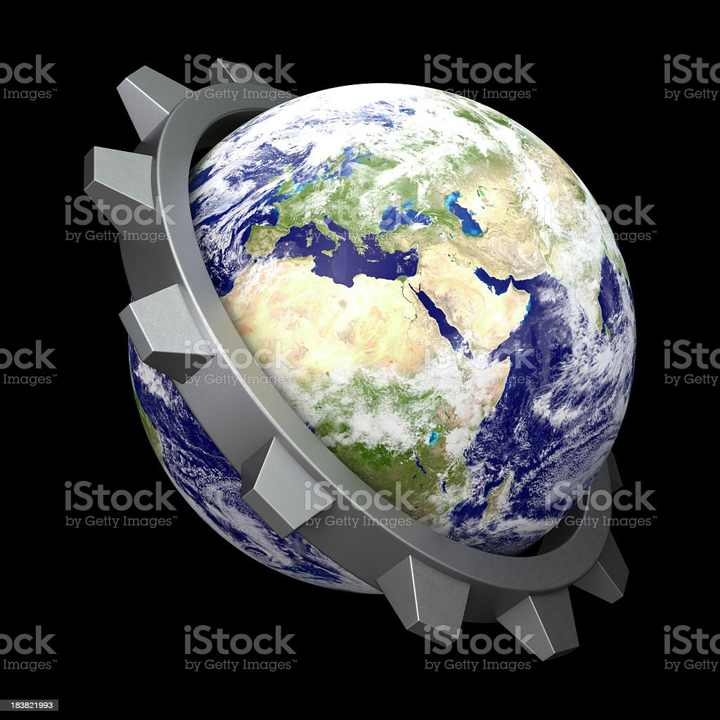 World and Gears stock photo