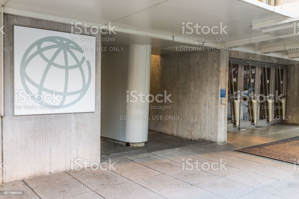 World Bank Group logo with entrance to building stock photo