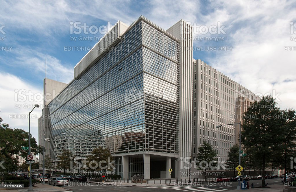 World Bank HQ on H street in Washington DC stock photo
