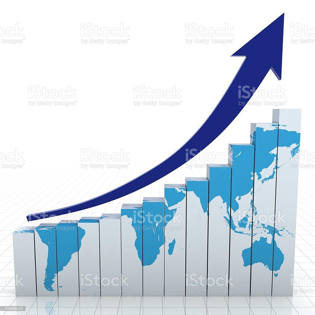 World bar graph and upward arrow royalty-free stock photo