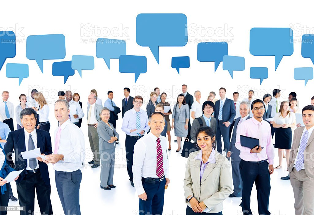 World business people with thought bubbles royalty-free stock photo