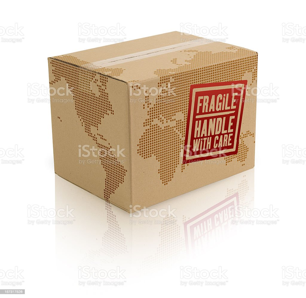 World Cardboard Box w/Clipping Path royalty-free stock photo