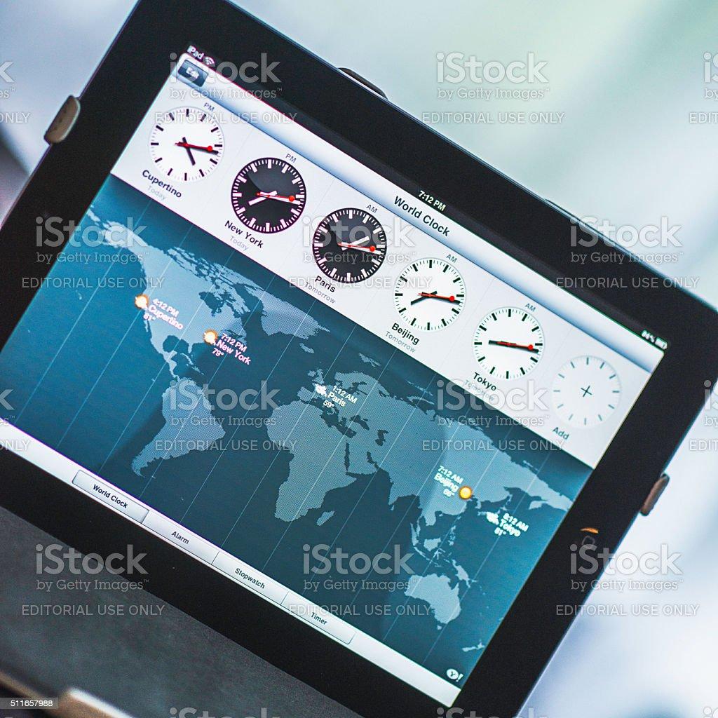 World clock application on Apple iPad device stock photo