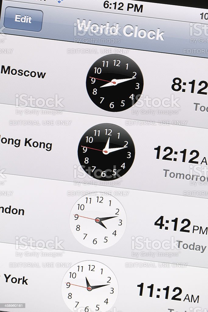 World Clock on iPhone 4 Screen royalty-free stock photo