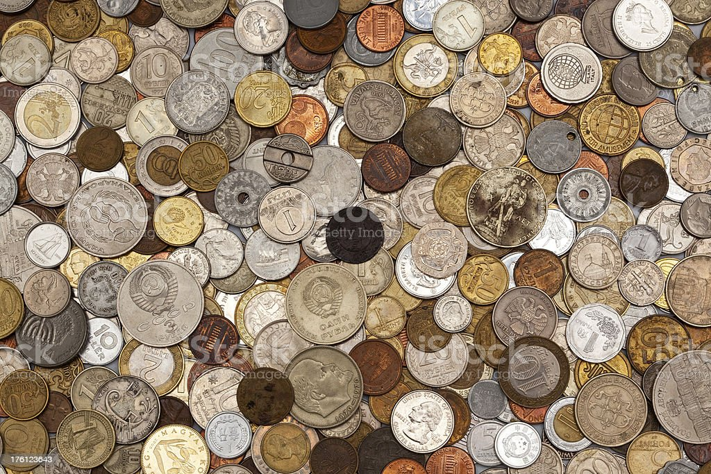 World coins collection royalty-free stock photo