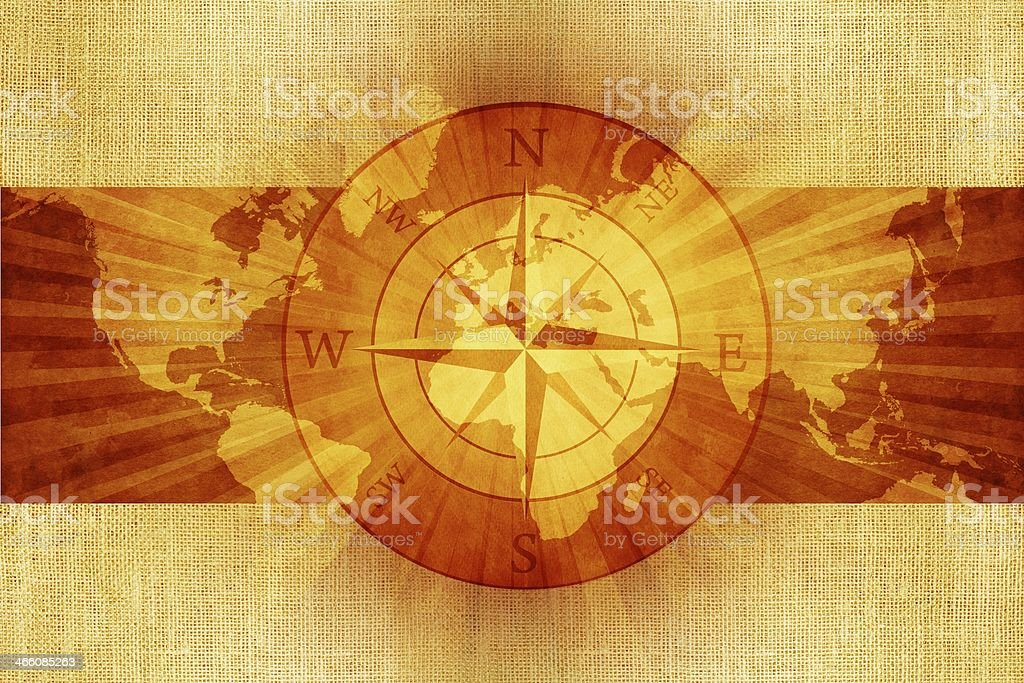 World Compass on Canvas royalty-free stock photo