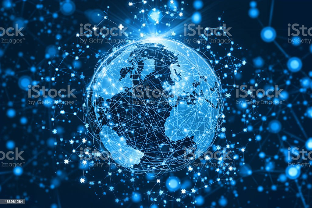 World connected by abstract communications network extending into space stock photo
