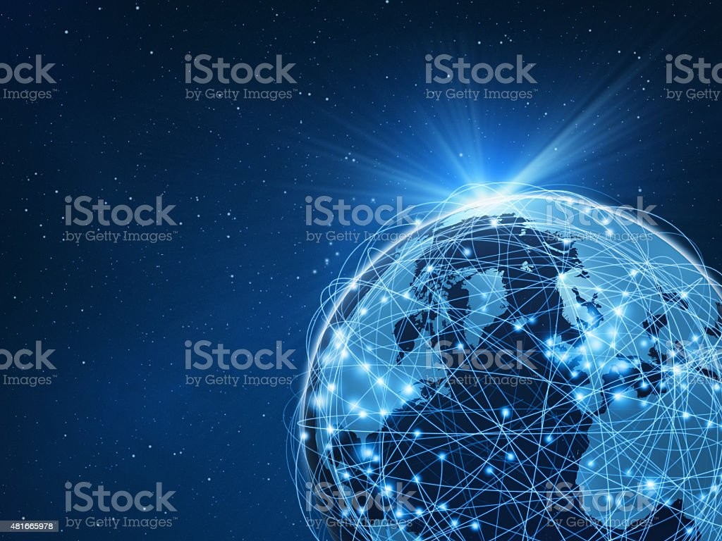 World connected by computer network on blue space background stock photo